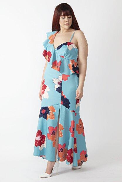 Şans Kadın Renkli Yaka Detaylı Abiye Elbise 65N16001