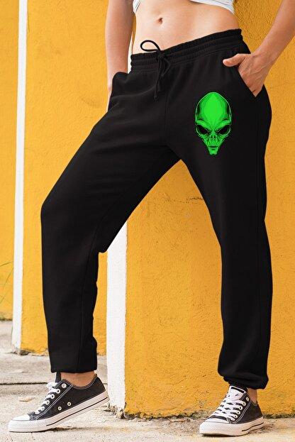 Angemiel Wear Yeşil Uzaylı Siyah Kadın Eşofman Altı