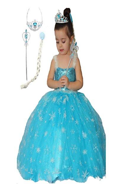 Ekbebek Elsa Kostumu Frozen Elbise Askili Tarlatanli Sac Tac Asa Kostum Trendyol