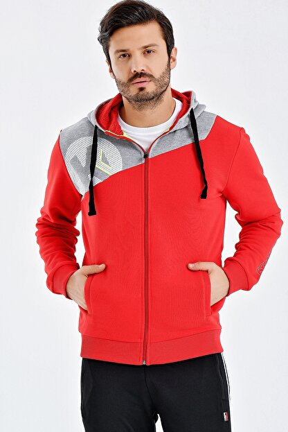 Kempa Erkek Kırmızı Pamuklu Kapşonlu Sweatshirt