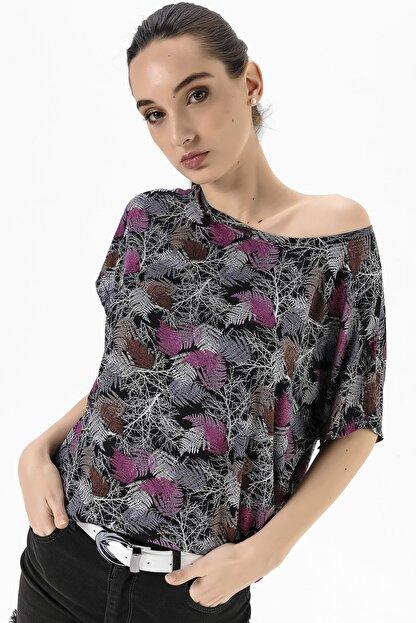 EMJEY Kadın Yaprak Desen Düşük Kol T-Shirt She020Y020001