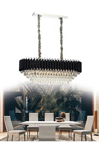 Luzmar Aydınlatma Modern Siyah Krom Kristal Avize 80 Cm (yemek Masası Üstü)
