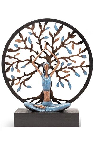 Gift Garden Yoga Yapan Kadın Mavi Büyük Hayat Ağacı