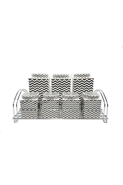 PORBLANCHE -home Porselen 7'li Baharatlık Pxmc24540 Siyah-beyaz Zigzag