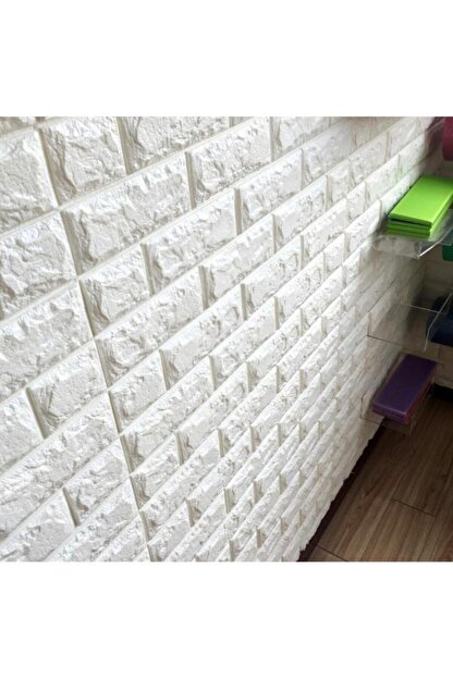 RENKLİ EVİM Kendinden Yapışkanlı Esnek Sünger Beyaz Tuğla Duvar Paneli