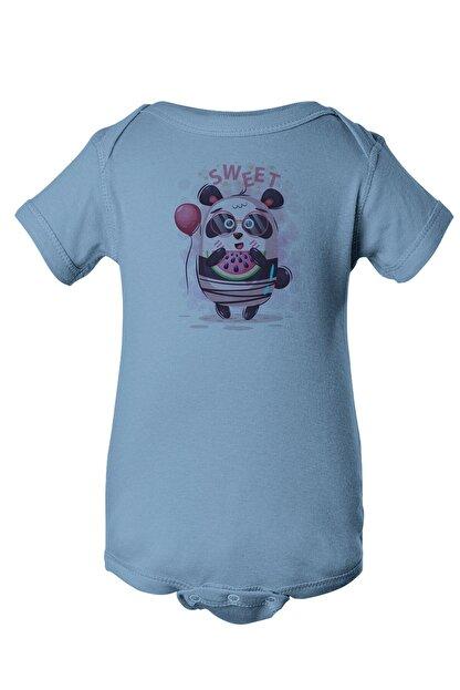 Angemiel Baby Tatlı Gözlük Takan Panda Erkek Bebek Zıbın Mavi