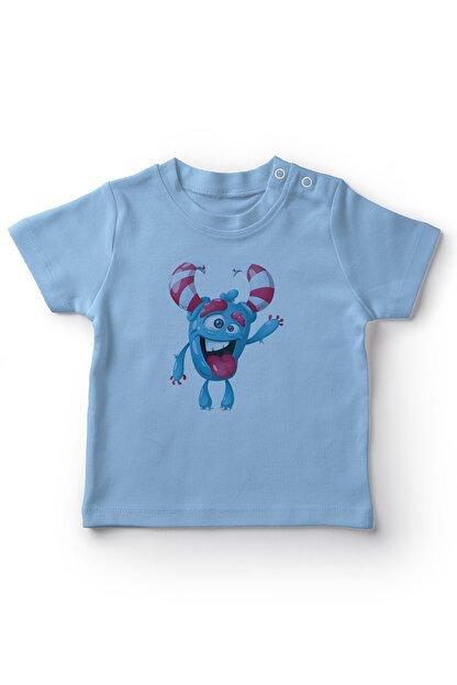 Angemiel Baby Şeker Boynuzlu Selam Veren Canavar Erkek Bebek Tişört Mavi