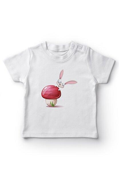 Angemiel Baby Mantarda Saklanan Tavşan Erkek Bebek Tişört Beyaz