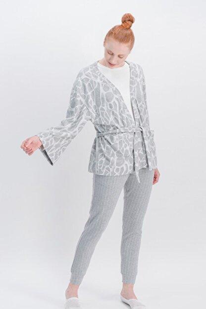 Arnetta Basic Animal Krem Kadın Pantolon, Bluz, Hırka 3'Lü Takım