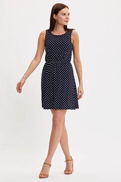 Defacto Kadın Çivit Mavisi Çiçek Desenli Belden Bağlama Detaylı Örme Elbise M9053AZ.20SM.IN59