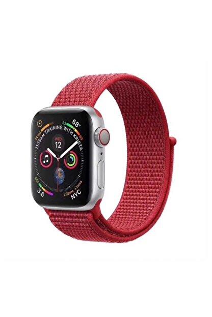 Trend Case Apple Watch 2 3 4 5 Serisi 42mm Hasır Kordon Kırmızı
