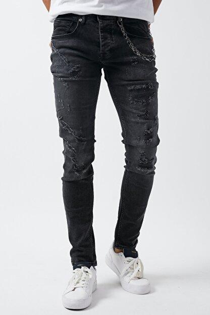 Dsquala Yırtıklı Zincirli Likralı Büyük Beden Siyah Kot Pantolon