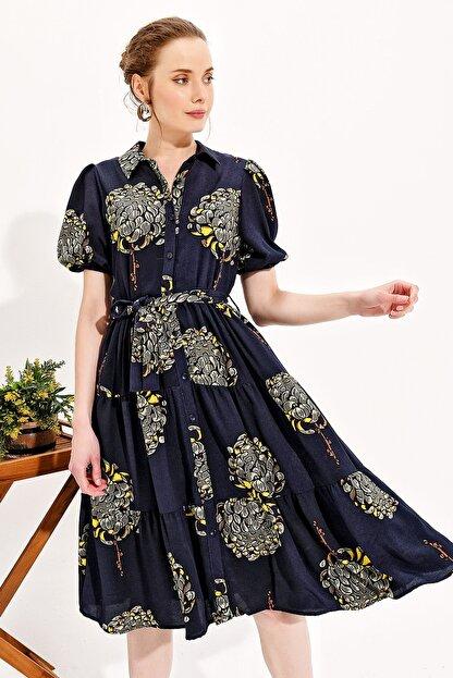 Trend Alaçatı Stili Kadın Lacivert Balon Kol Kat Kat Volanlı Dokuma Gömlek Elbise Dnz-3188