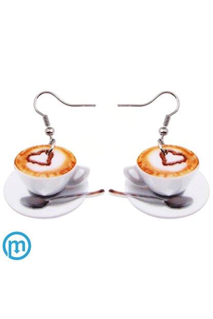 KUMI Çift Yönlü Akrilik Baskı Sallantılı Kahve Fincanı Desenli Küpe