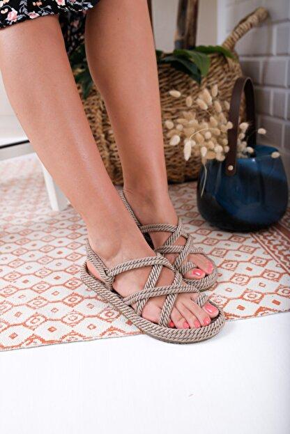 Usludan Vizon Parmak Arasi Bayan Halat Sandalet Trendyol