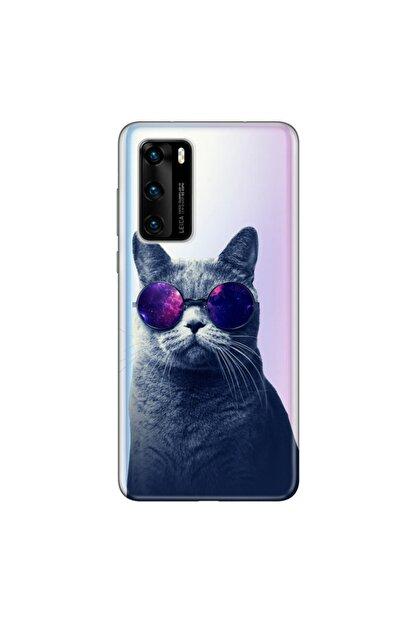 Cekuonline Huawei P40 Kılıf Desenli Resimli Hd Silikon Telefon Kabı Kapak - Hii Cat