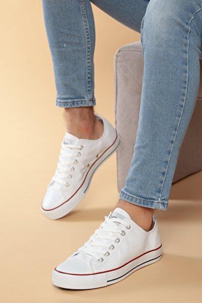 Daxtors Beyaz Günlük Ortopedik Erkek Keten Spor Ayakkabı  DXTRMCONT005