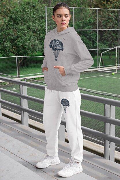Angemiel Kadın Eşofman Takımı Gri Kapşonlu Sweatshirt Beyaz Eşofman Altı