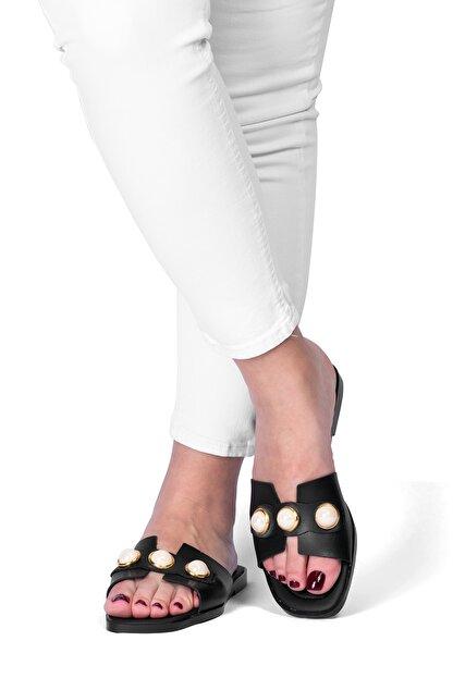 OCT Shoes Taşlı Siyah Kadın Terlik TS1035