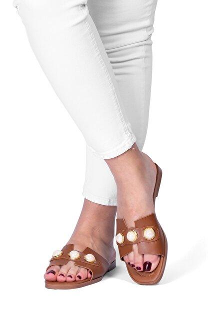 OCT Shoes Taşlı Taba Kadın Terlik TS1035