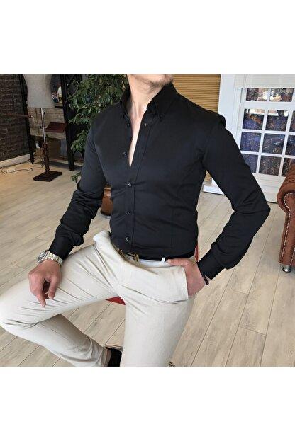 TerziAdemAltun Erkek Dik Yaka Saten Gömlek Siyah