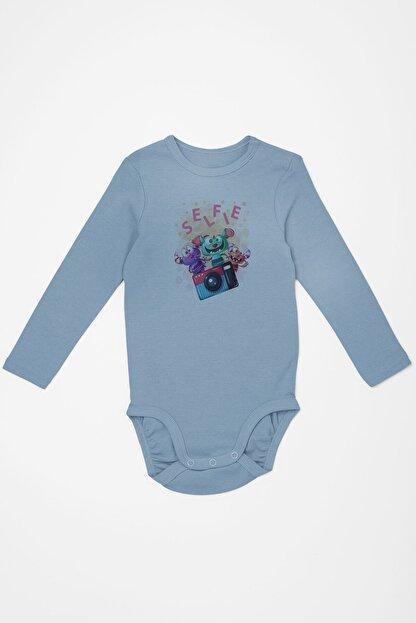 Angemiel Baby Fotoğraf Çeken Canavarlar Erkek Bebek Uzun Kollu Zıbın Mavi