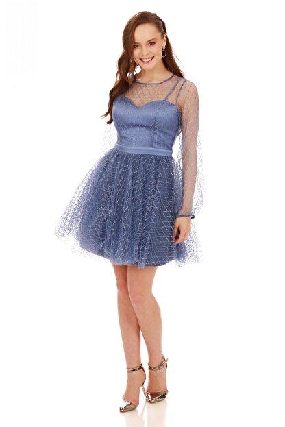 6ixty8ight İndigo Tül Glitterli Uzun Kollu Abiye Elbise