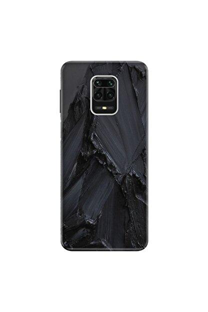 Cekuonline Xiaomi Redmi Note 9s Kılıf Desenli Resimli Hd Silikon Telefon Kabı Kapak - Siyah Beton