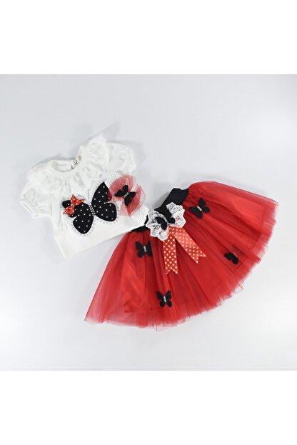 Mersevkids Kız Bebek Üçlü Zıbınlı Saç Bantlı Kırmızı Takım