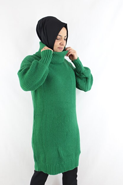 Duha Store Boğazlı Triko Tunik Yeşil