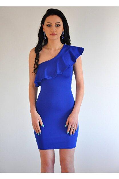 lovebox Esnek Dalgıç Kumaş Saks Mavisi Mini Elbise
