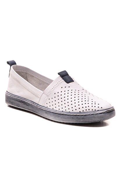 GRADA Beyaz Hakiki Deri Bağcıksız Kadın Ayakkabı