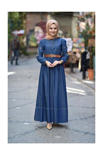 Modamihram Kolları Nakışlı Tesettür Elbise Koyu Kot