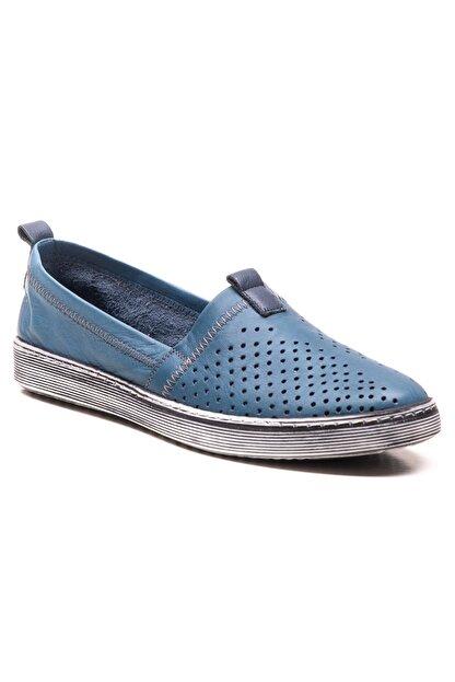 GRADA Mavi Hakiki Deri Bağcıksız Kadın Ayakkabı