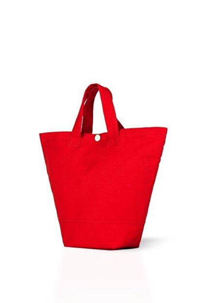 Çınar Bez Çanta Kırmızı Gabardin Kumaş Çanta 38x29x11 cm (220 gr)