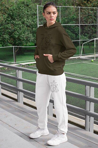 Angemiel Wear Geometrik Şekiller Kadın Eşofman Takımı Yeşil Kapşonlu Sweatshirt Beyaz Eşofman Altı