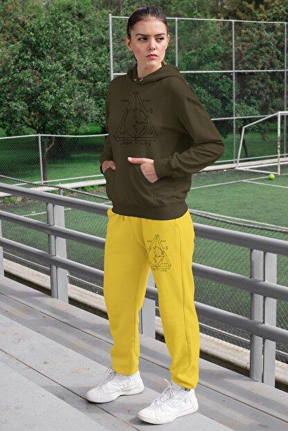 Angemiel Wear Geometrik Şekiller Kadın Eşofman Takımı Yeşil Kapşonlu Sweatshirt Sarı Eşofman Altı