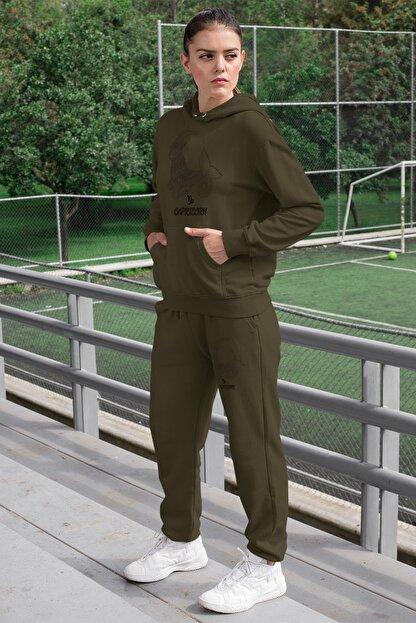 Angemiel Wear Oğlak Burcu Kadın Eşofman Takımı Yeşil Kapşonlu Sweatshirt Yeşil Eşofman Altı