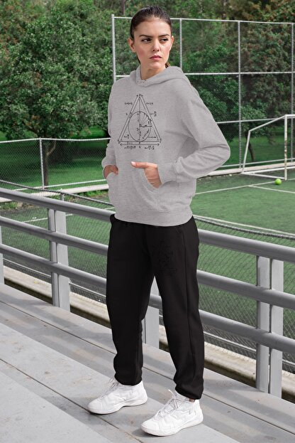 Angemiel Wear Geometrik Şekiller Kadın Eşofman Takımı Gri Kapşonlu Sweatshirt Siyah Eşofman Altı