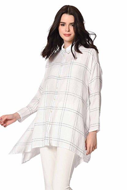 Mizalle Kadın Beyaz Gri Kareli Mızalle Parlak Simli Ekose Bluz