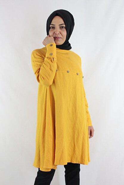 Duha Store Şık Ham Keten Tunik Sarı
