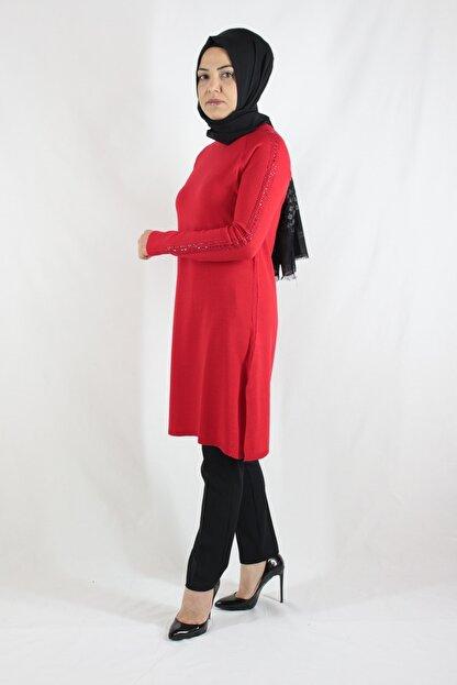 Duha Store Kolları Taşlı Triko Tunik Kırmızı