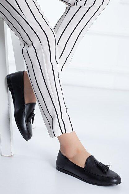 Rome Slippers Hakiki Deri Siyah Kadın Sandalet Rt-802