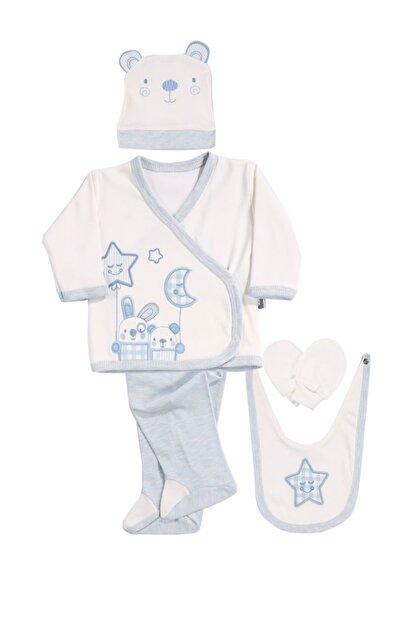 Kindo Baby Yıldızlı Aylı Nakışlı Erkek Bebek 5 Li Set Hastane Çıkışı Miniworld