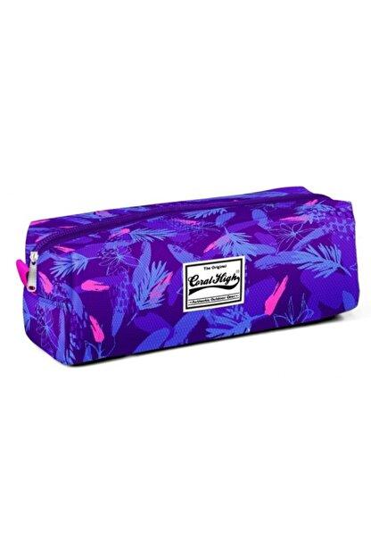 Yaygan Çanta Coral High Tek Gözlü Saks Mavi Yaprak Desenli Kalem Çantası - 22222