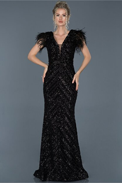 Abiyefon Siyah Uzun Pul Işlemeli Otrişli Abiye Elbise Abu881
