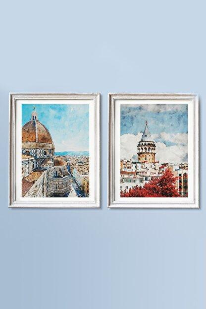 Life & Art 2'li Istanbul Galata Kulesi & Italya Floransa Suluboya Tablo Seti - 30x40 Cm - Çerçevesiz