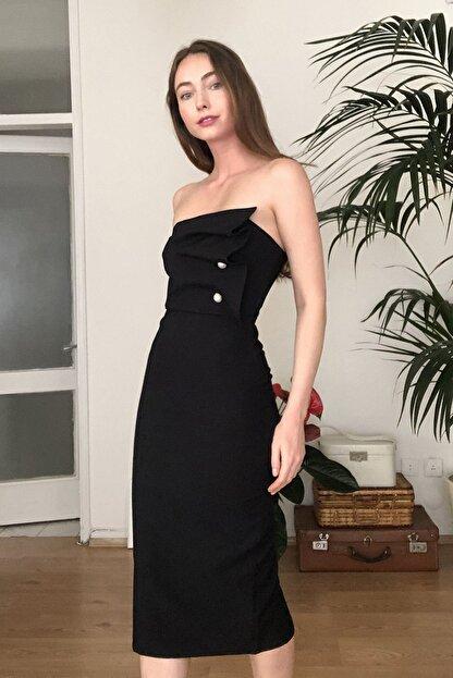 TRENDYOLMİLLA Siyah Aksesuar Detaylı  Elbise TPRSS20EL2177