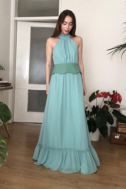 TRENDYOLMİLLA Mint Kemerli Abiye & Mezuniyet Elbisesi TPRSS20AE0289