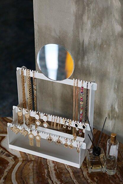 Arte Negro Aynalı Beyaz Takı Standı